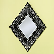 Diamond Small Venetian Mirror in Black