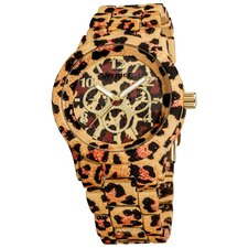 Women's Leopard Faux Chronograph Bracelet Watch
