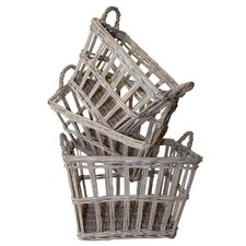 French 3 Piece Rectangular Basket Set