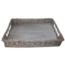 Willow and Wood Rectangular Serving Tray