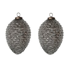 "6.8"" Mercury Glass Pinecone Set (Set of 2)"