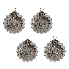 Mercury Glass Sunburst Ornament Set (Set of 4)