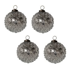Mercury Glass Hobnail Ornament Set (Set of 4)
