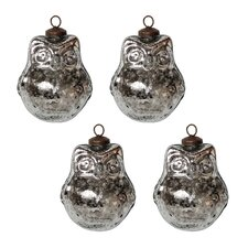 Mercury Glass Owl Ornament Set (Set of 4)