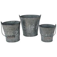 French Script Oval Bucket (Set of 3)