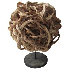 Rattan Ball Statue on Wood Base