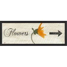 Flowers Right Arrow Framed Graphic Art