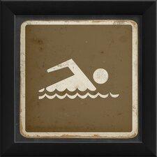Sign Swimming Framed Graphic Art