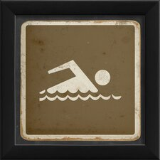 <strong>Blueprint Artwork</strong> Swimming Sign Framed Art