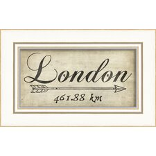 London 461Km Framed Textual Art