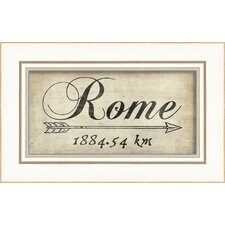 Rome 1884Km Framed Textual Art