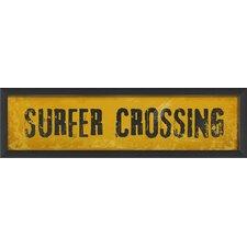 Surfer Crossing Framed Textual Art