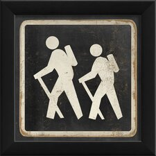 Hiking Sign Black Wall Art