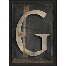 Letter G Framed Textual Art in Black and Gray