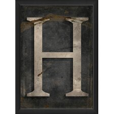 Letter H Framed Textual Art in Black and Gray