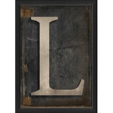 Letter L Framed Textual Art in Black and Gray