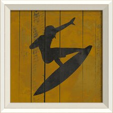 Surfer I Framed Graphic Art in Yellow and Black