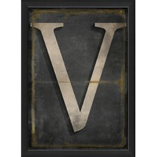 Letter V Framed Textual Art in Black and Gray