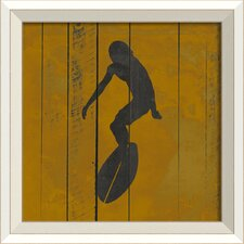 Surfer III Framed Graphic Art in Yellow and Black