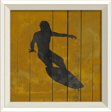 Surfer IV Framed Graphic Art in Yellow and Black
