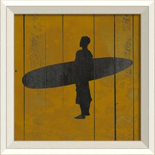Surfer VI Framed Graphic Art in Yellow and Black