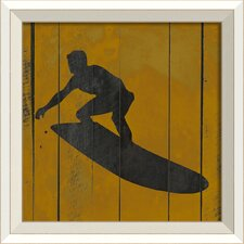 Surfer VII Framed Graphic Art in Yellow and Black