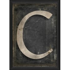 Letter C Framed Textual Art in Black and Gray