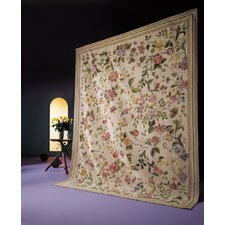 Classic Needlepoint Beige Margate Flowers Area Rug