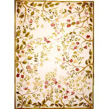 Classic Needlepoint Summer Yellow / Green Flowers Rug