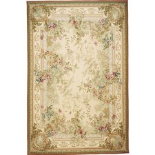 Classic Aubusson Gray / Ivory Rosemont Flowers Area Rug