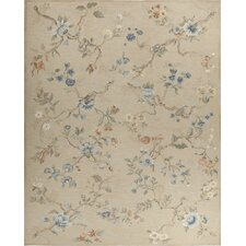 <strong>Asmara, Inc.</strong> Fresco Savonile Gold Branches Taupe / Brown Flowers Rug
