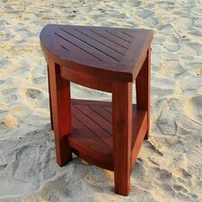 <strong>Decoteak</strong> Classic Teak Outdoor Corner Shelf or Teak Small Corner Table