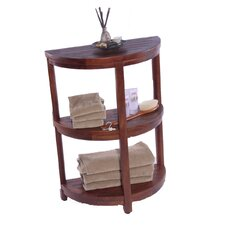 3 Tier Classic Spa Half Moon Teak Outdoor Shelf