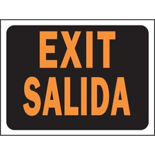 "9"" x 12"" Plastic Bilingual Exit Sign"