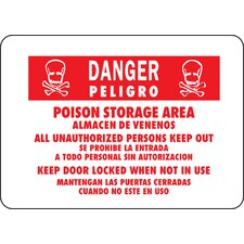 "<strong>Hy-Ko</strong> 10"" x 14"" Aluminum Bilingual Danger Poison Sign"