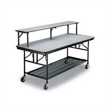 Mobile Bar/Buffet Unit with Riser Shelf, Laminate Top