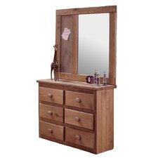 Mini 6 Drawer Dresser with Mirror