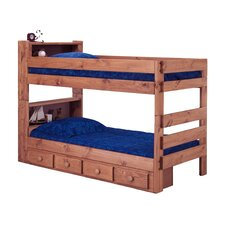 Twin Over Twin Standard Bunk Bed with Bookcase and Storage