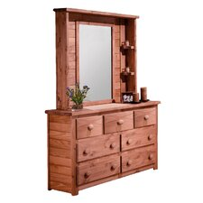 7 Drawer Dresser with Mirror Hutch