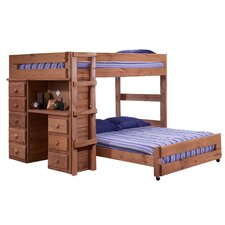 Full Over Full L-Shaped Bunk Bed with Desk and 5 Drawer Chest