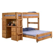 <strong>Chelsea Home</strong> Full Over Full L-Shaped Bunk Bed with Desk and 5 Drawer Chest