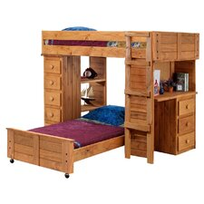 Twin Over Twin L-Shaped Bunk Bed with Desk and Chest End