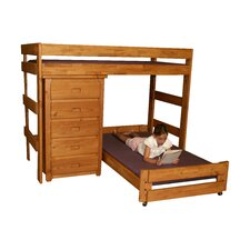 Twin Over Twin L-Shaped Bunk Bed with 5 Drawer Chest