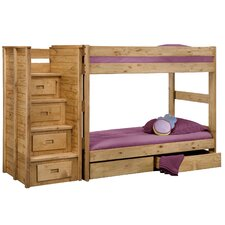 Twin Over Twin Standard Bunk Bed with Staircase and Storage