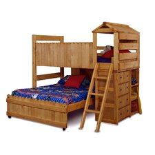 Twin Over Full L-Shaped Bunk Bed with Ladder