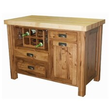 Sandra Kitchen Island with Butcher Block Top