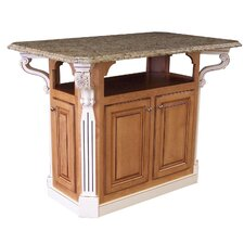 Geoffrey Kitchen Island with Granite Top