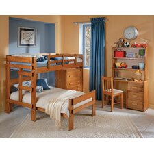 Twin over Twin L-Shaped Bunk Bed with 4 Drawer Chest