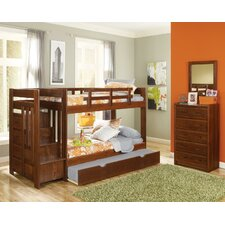 Twin over Twin Standard Bunk Bed with Reversible Stair and Trundle