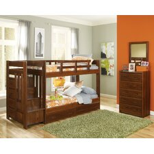 Twin over Twin Standard Bunk Bed with Reversible Stair and Underbed Storage